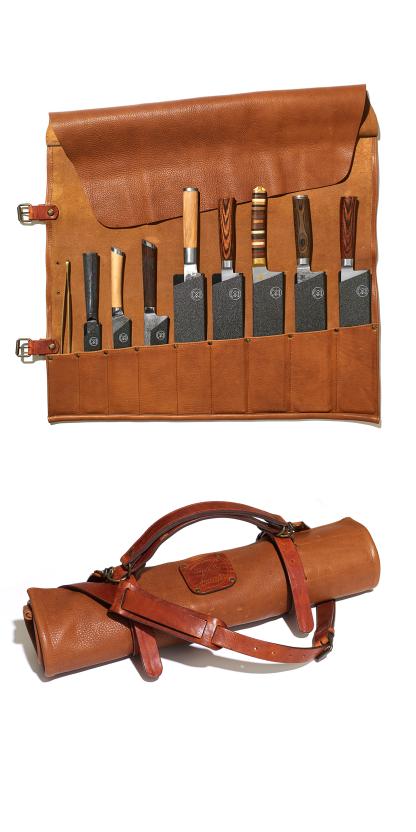 Witloft_messenrol_chefs knife roll_Cognac_9 pieces